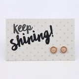 Spring Collection - KEEP SHINING Sunflower Earring Studs - Rose Gold (9701)