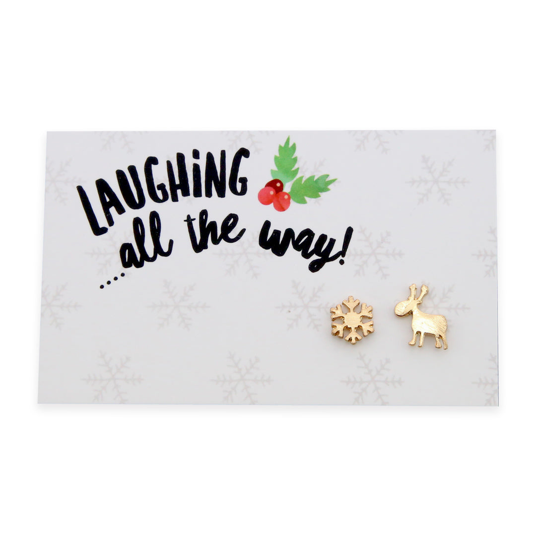 Christmas Collection - Laughing All The Way - Reindeer & Snowflake Earring Studs - Gold (9203)
