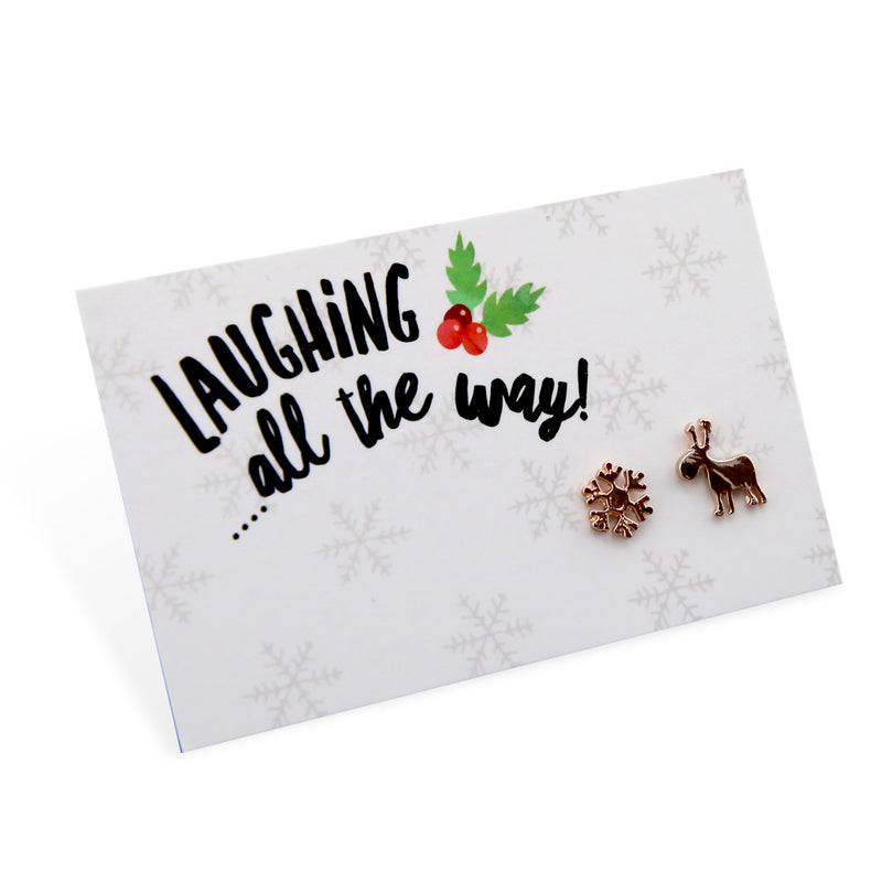 Christmas Collection - Laughing All The Way - Reindeer & Snowflake Earring Studs - Rose Gold (9601)