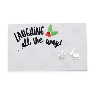 Christmas Collection - Laughing All The Way - Reindeer & Snowflake Earring Studs - Silver (9502)