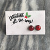 SPARKLEFEST - Laughing All The Way! Glitter Earrings set in Vintage Silver - Ruby Red (8315)