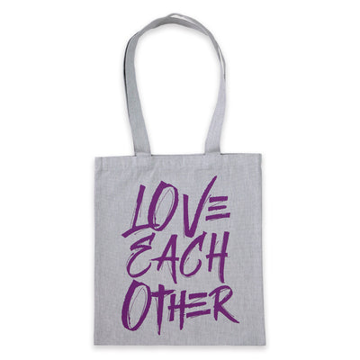 Love Each Other- Canvas Parcel Tote Bag - Grey