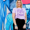 LOVE EACH OTHER - Lavender Boxy Tee - Purple Print