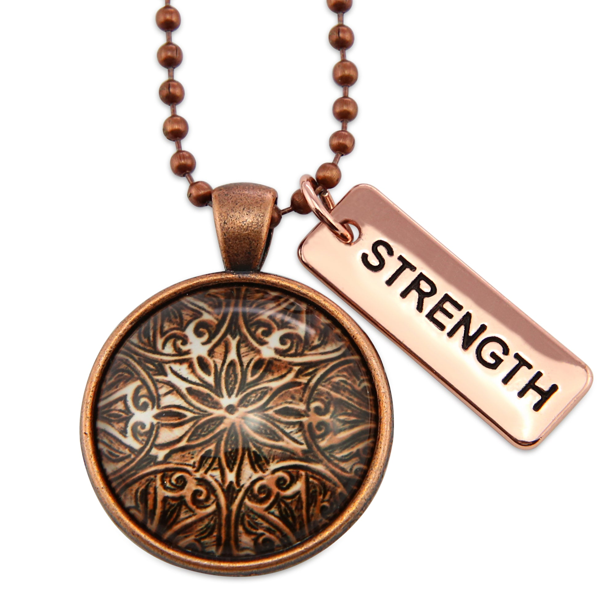 The STRONG WOMEN Collection - Vintage Copper ' STRENGTH ' Necklace - Lionhearted Copper (11152)