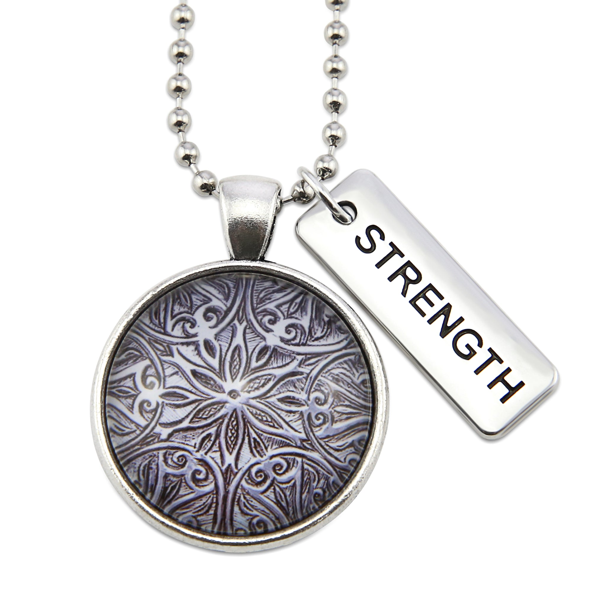 The STRONG WOMEN Collection - Vintage Silver ' STRENGTH ' Necklace - Lionhearted Silver (10545)
