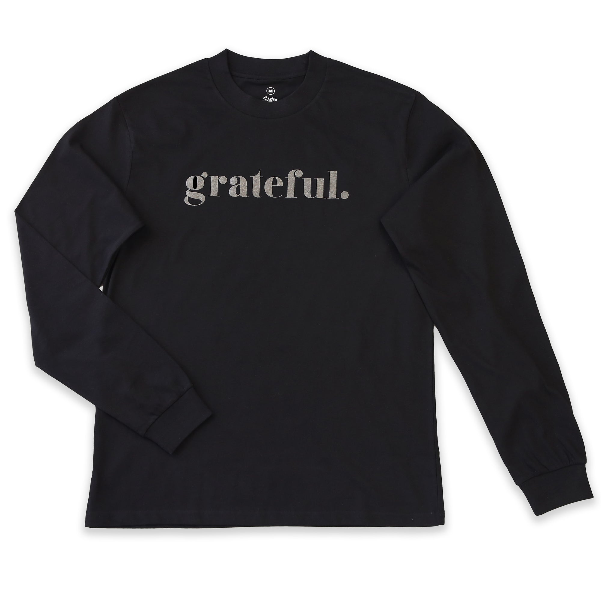 Women's Long Sleeve Crew Neck Grateful Tee. T-shirt in Black