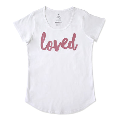 LOVED Tee - White Scoopy - Dusty Blush Pink Print