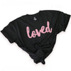 LOVED - Black Long Boxy PLUS Size Tee - Dusty Blush Pink Print