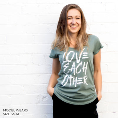 LOVE EACH OTHER Tee - Sage Green Scoopy