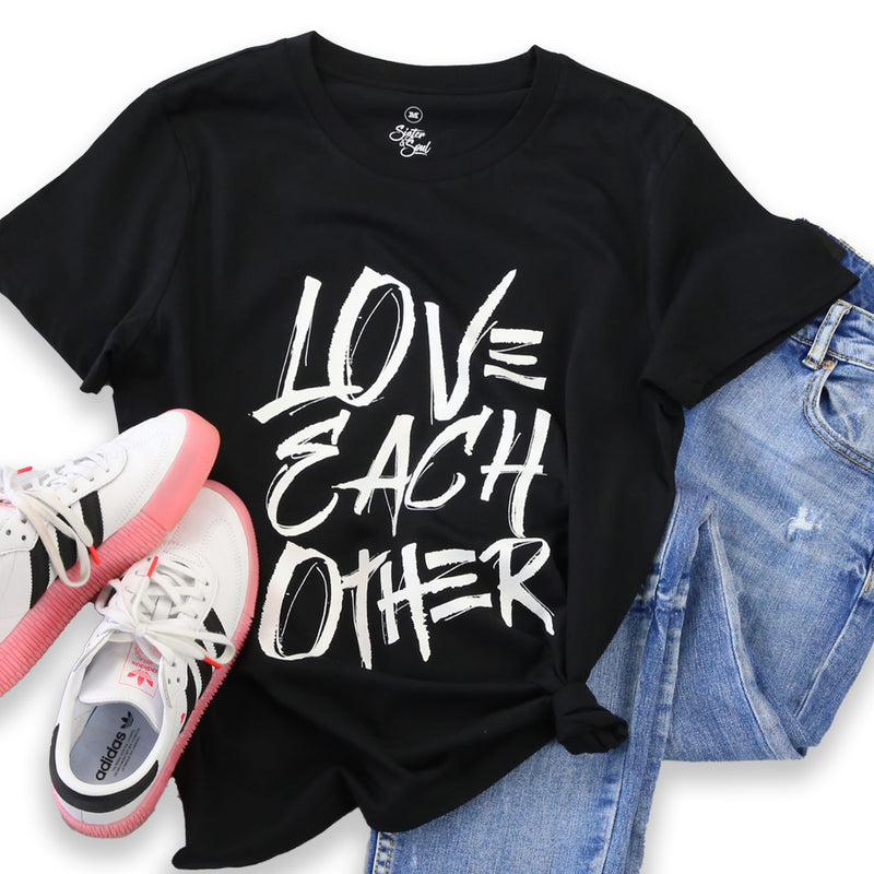 LOVE EACH OTHER - Black Boxy Tee - White Print