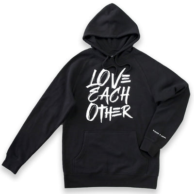 Love Each Other HOODIE - Black with White Print