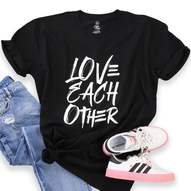 LOVE EACH OTHER - Black Long Boxy PLUS Size Tee - White Print