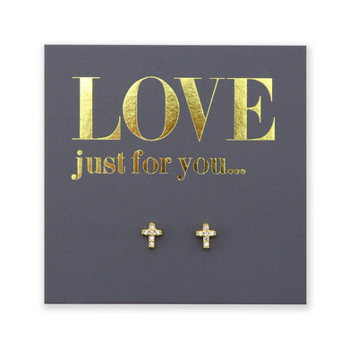 Tiny Cross Studs - Gold Sterling Silver - Love Just For You (8913-R)