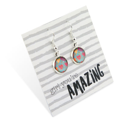 BOHO Collection - Girl You're Amazing - Stainless Steel Bright Silver Dangle Earrings - Lovely Heart (9515)