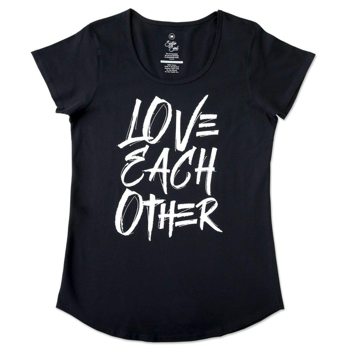Love Each Other Tee - Black Scoopy