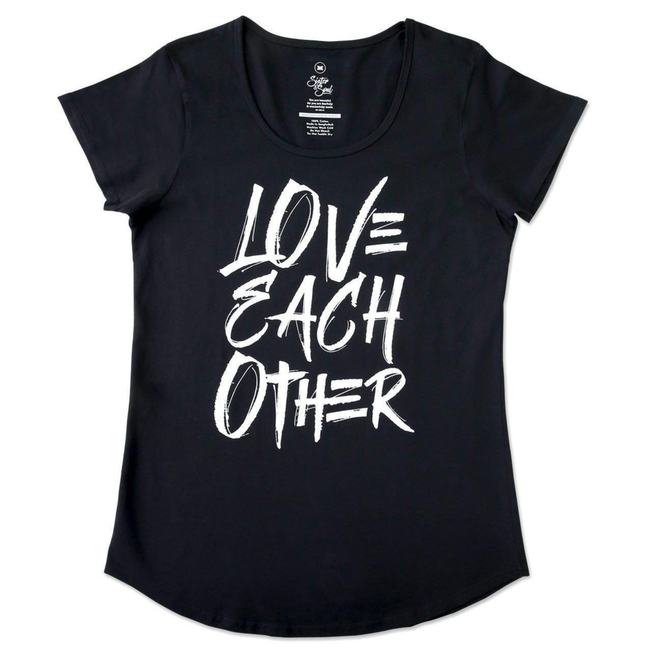 Black Love Each Other Motivational T-shirt with Scooped shape.
