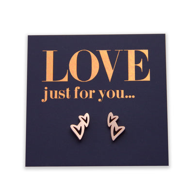Stainless Steel heart shape earrings. Hypoallergenic studs in Rose Gold, Silver, Black & Gold. Star shaped. Beautiful Gifts by Sister and Soul. Foil feature gift card Girl you are amazing.
