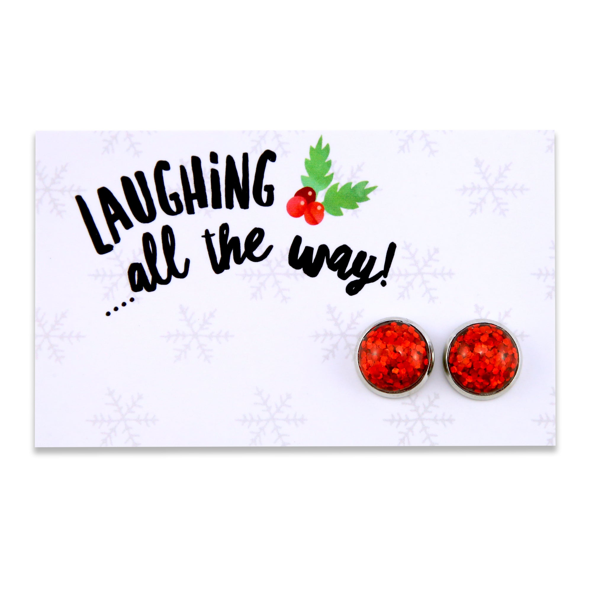 SPARKLEFEST - Laughing All The Way! Glitter Earrings set in Vintage Silver - Ruby Red (8101)
