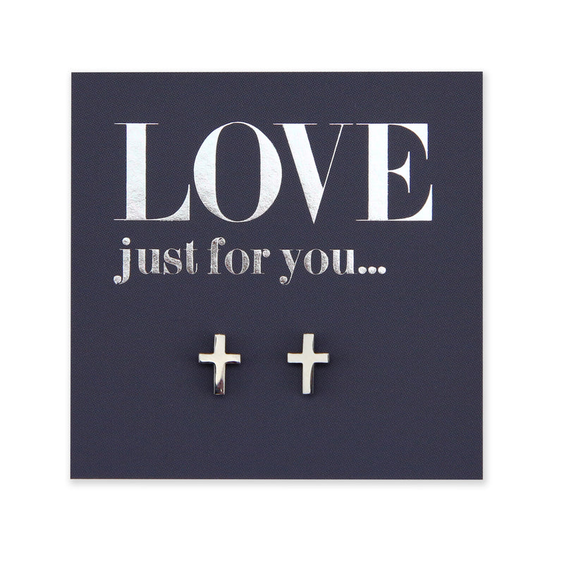 Stainless Steel Earring Studs - Love Just For You - CROSS