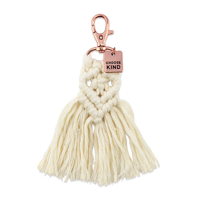 BOHO Collection - Macrame Tassel Keyring / Bag Accessory ' CHOOSE KIND ' Cream & Rose Gold - (S012-3)