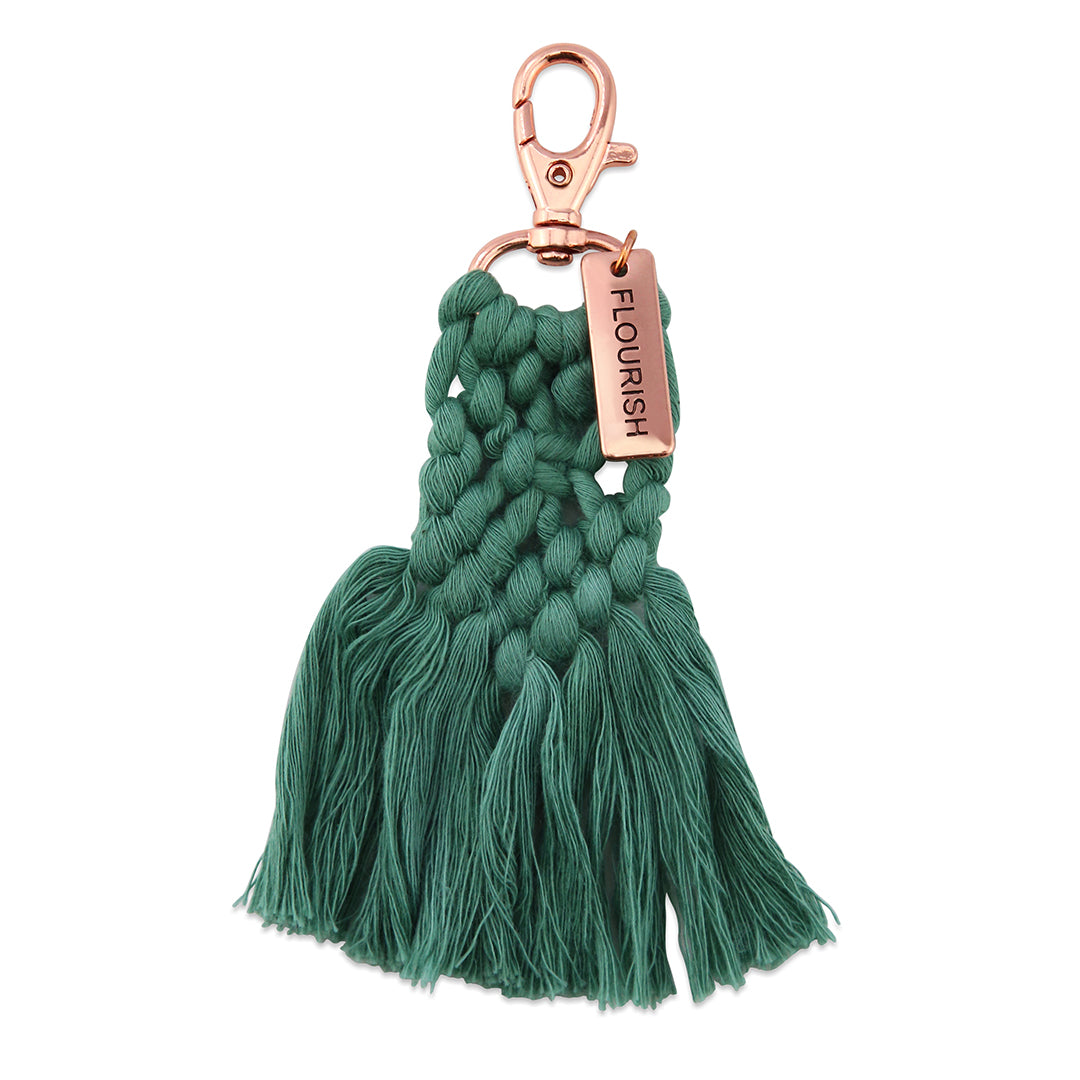 BOHO Collection - Macrame Tassel Keyring / Bag Accessory 'FLOURISH' Teal & Rose Gold (7011-2)