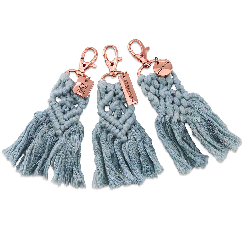BOHO Collection - Macrame Tassel Keyring / Bag Accessory 'YOU GOT THIS' Sky Blue & Rose Gold - (S10-3)