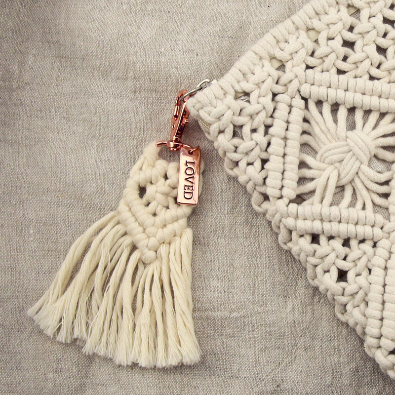 BOHO Collection - Macrame Tassel Keyring / Bag Accessory ' LOVED ' Cream & Rose Gold (7012-2)