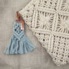 BOHO Collection - Macrame Tassel Keyring / Bag Accessory 'STRENGTH' Sky Blue & Rose Gold - (S10-2)