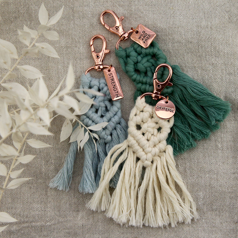 BOHO Collection - Macrame Tassel Keyring / Bag Accessory ' GRATEFUL ' Cream & Rose Gold - (S012-1)
