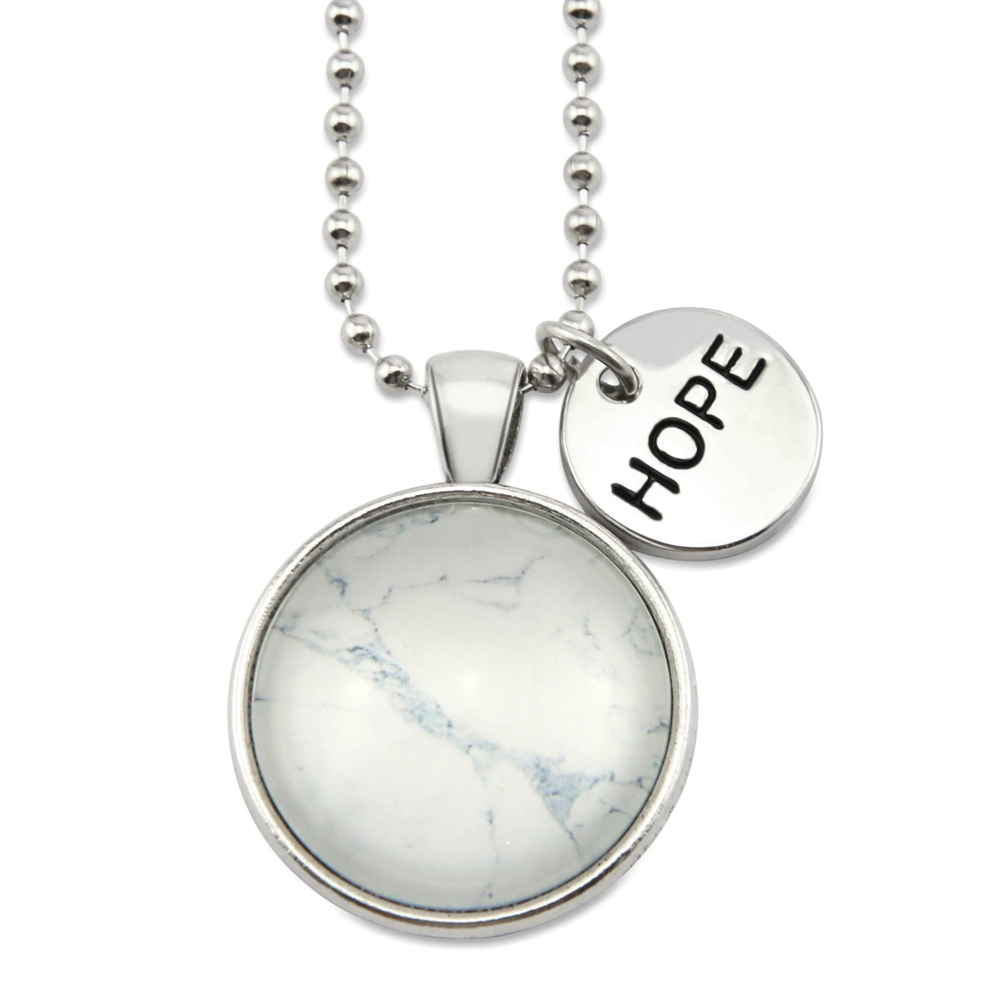 Black & Whites - Vintage Silver ' HOPE ' Necklace - Marble-isheous (11065)
