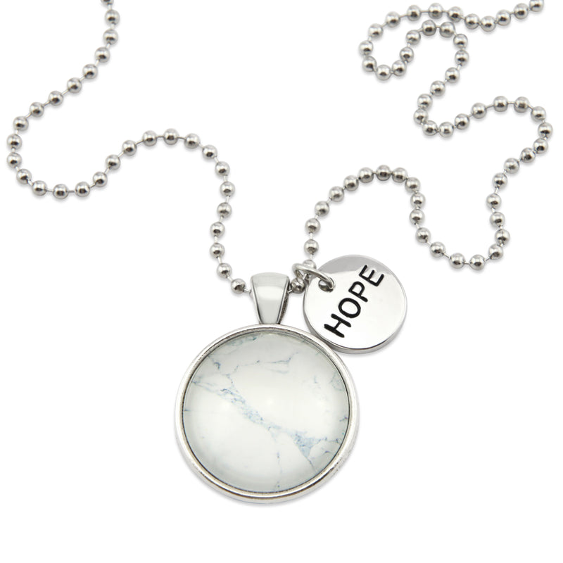 White Marble Print HOPE Pendant Necklace with word charm, Vintage Silver coloured jewellery. Gifts for friends, teachers and soul sisters. Sister & Soul jewellery is the perfect choice to spoil someone you love.