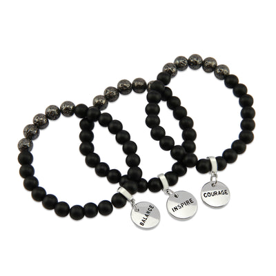 Lava Stone Bracelet -  8mm Matt Black Onyx + Metallic Lava Stone beads - with Silver Word Charm