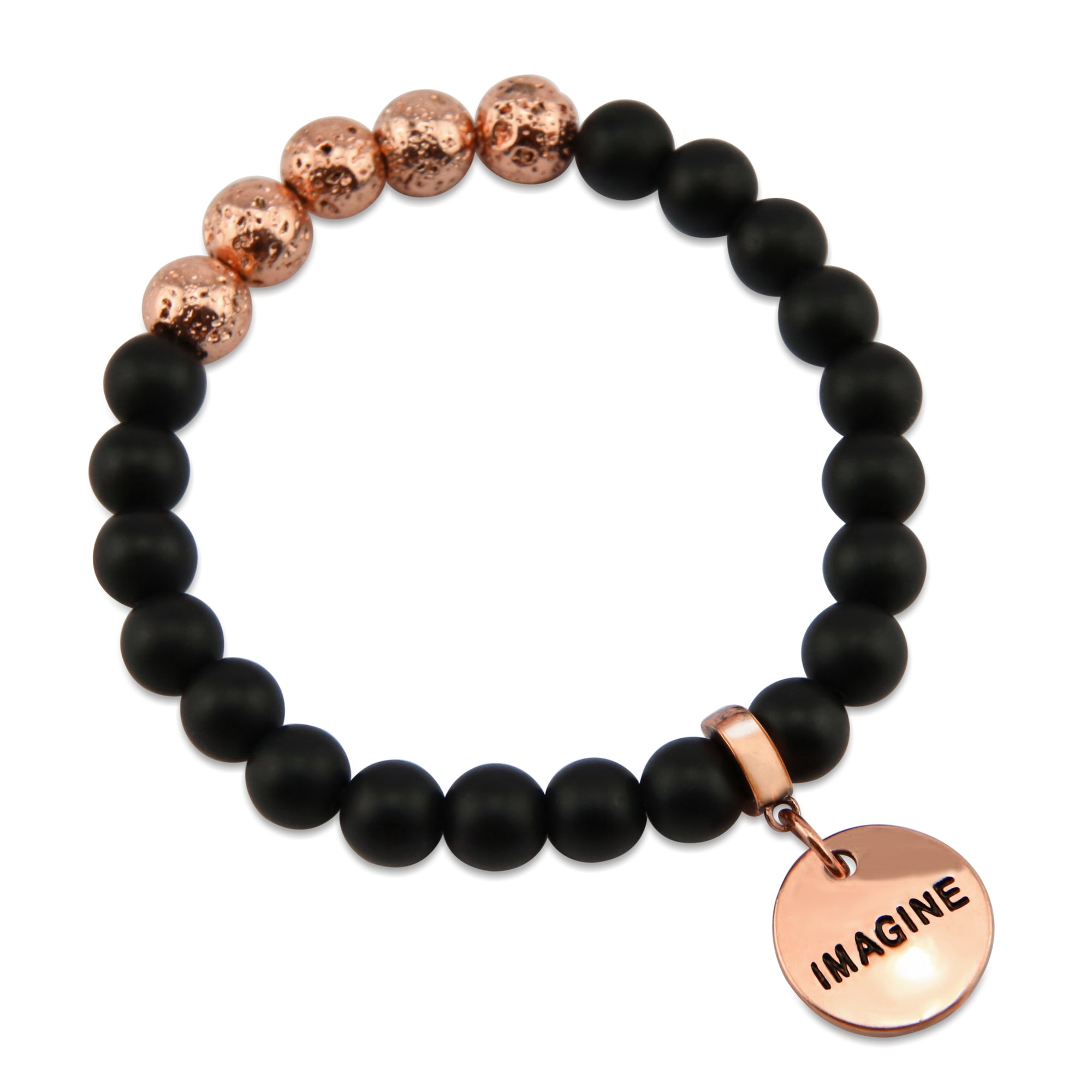 Lava Stone Bracelet -  8mm Matt Black Onyx + Rose Gold Lava Stone beads - with Rose Gold Word Charm