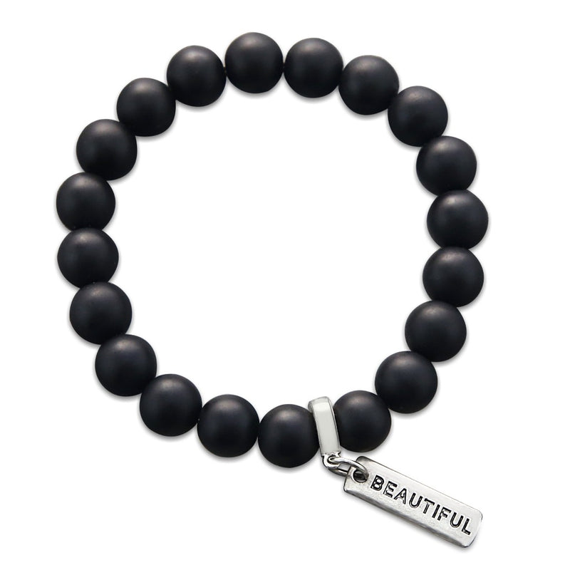 Stone Bracelet - Matt Black Onyx Large 10mm Beads - with Word Charms