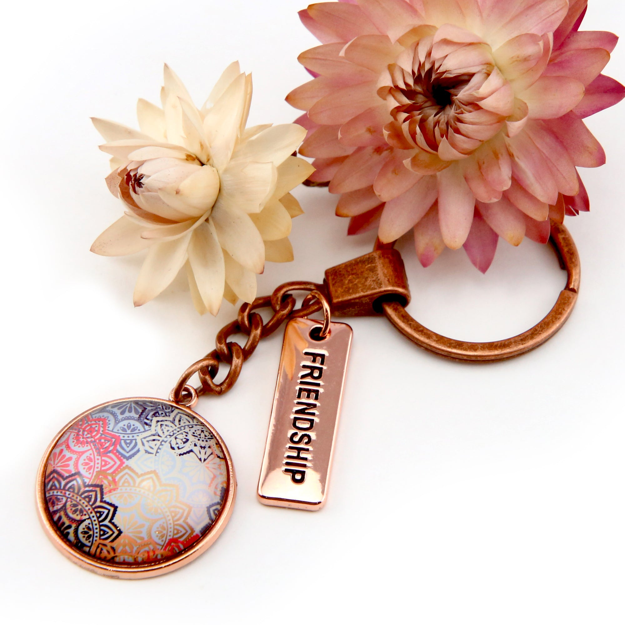 BOHO Collection - Vintage Rose Gold Keyring with 'FRIENDSHIP' Charm - Maya (10622-B)