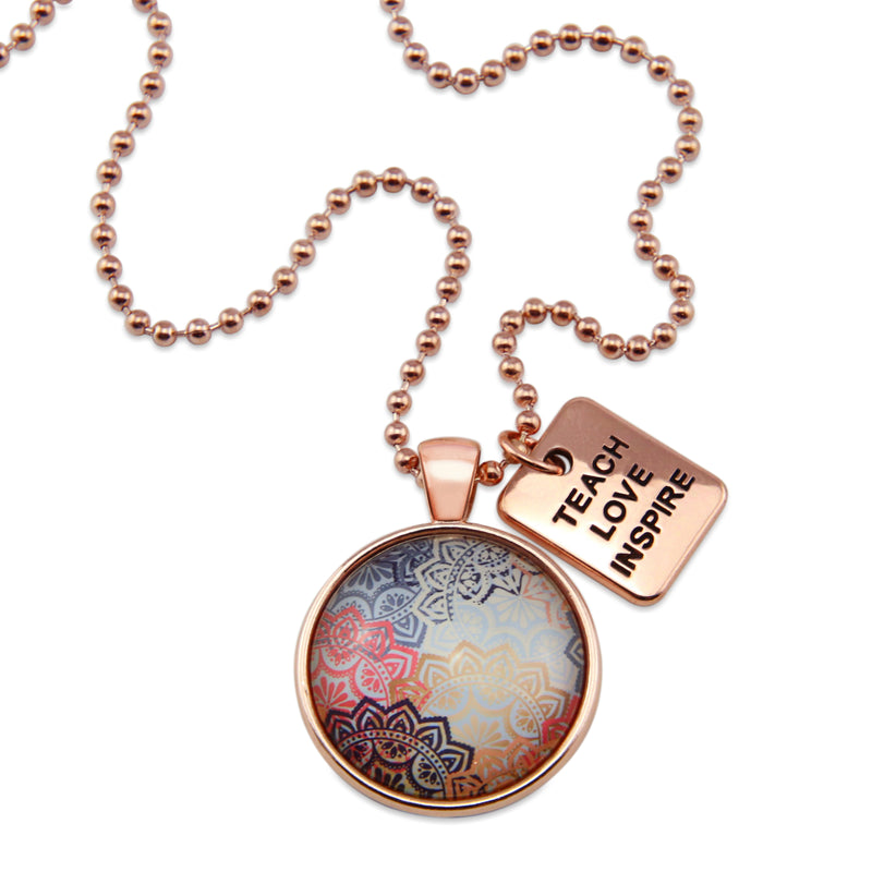 BOHO Collection - Rose Gold 'TEACH LOVE INSPIRE' Necklace - Maya (10131-A)