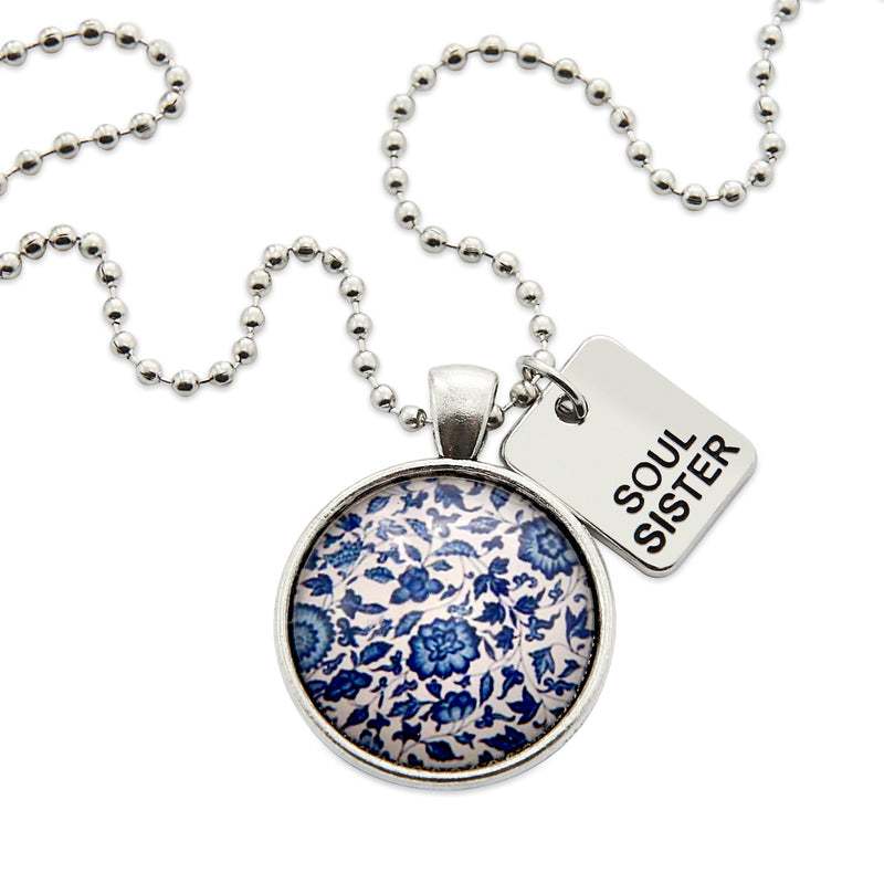 China Blues ' SOUL SISTER ' Necklace in Vintage Silver - Midnight Posies (10954)