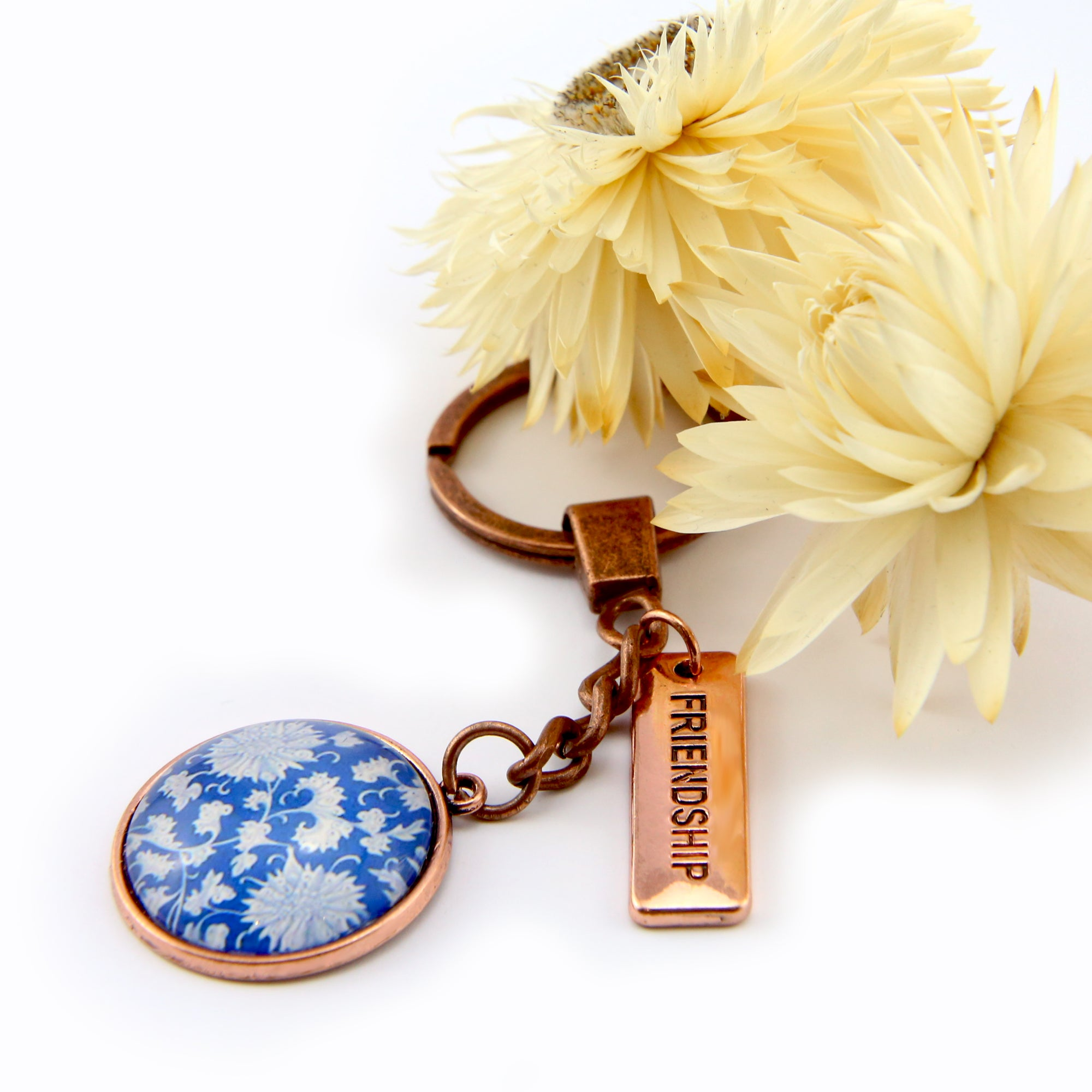 Vintage Rose Gold Keyring with ' FRIENDSHIP ' charm - Morning Blue (10815)