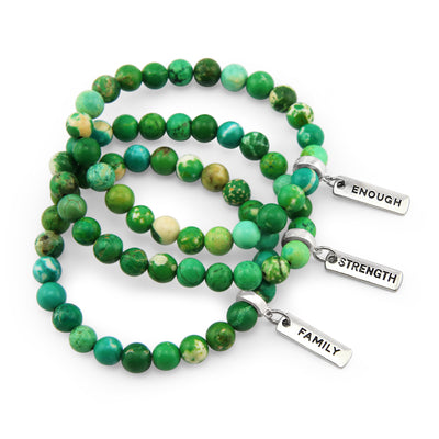 Precious Stone Bracelet- Green Mountain Imperial Jasper 8mm Bracelet - with Silver charms