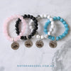 Stone Bracelet - ' MAMA BEAR ' Rose Quartz - Chunky 10mm beads (11513)