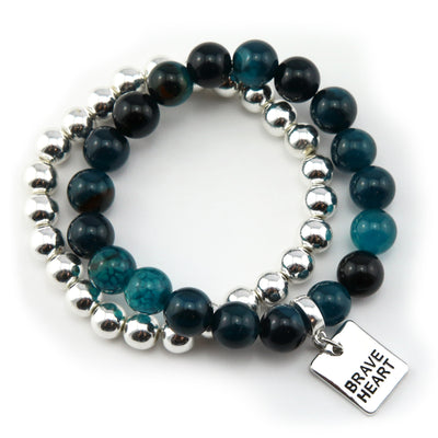 Bracelet Duo! 10mm Oceans Teal Tourmaline & 8mm Silver bead bracelet stacker set - BRAVE HEART (10831)