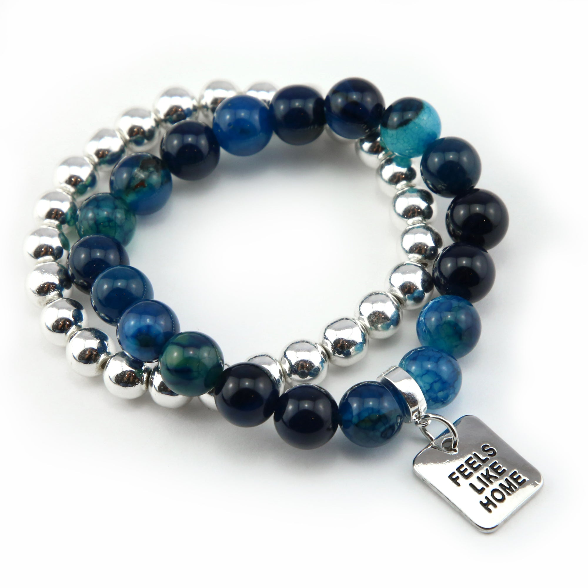 Bracelet Duo! 10mm Oceans Teal Tourmaline & 8mm Silver bead bracelet stacker set - FEELS LIKE HOME (10851)