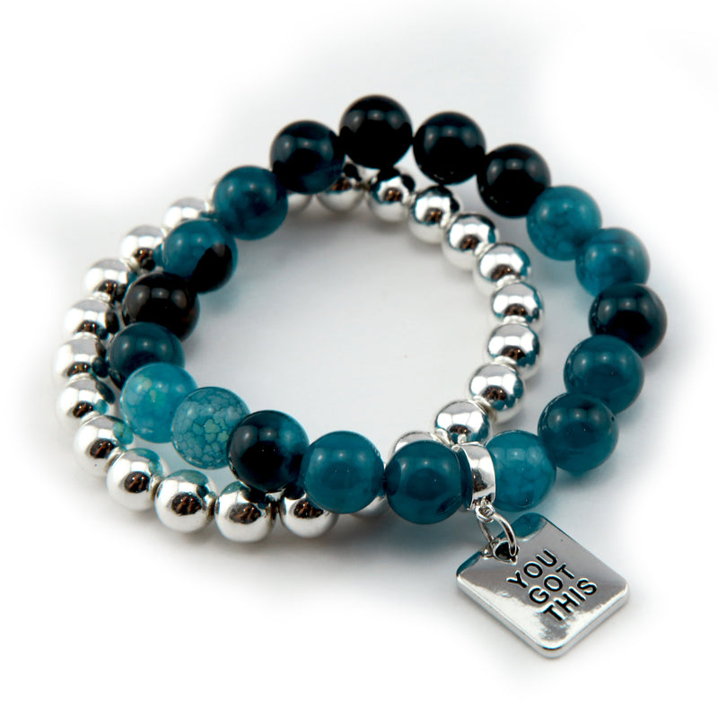 Bracelet Duo! 10mm Oceans Teal Tourmaline & 8mm Silver bead bracelet stacker set - YOU GOT THIS (10835)