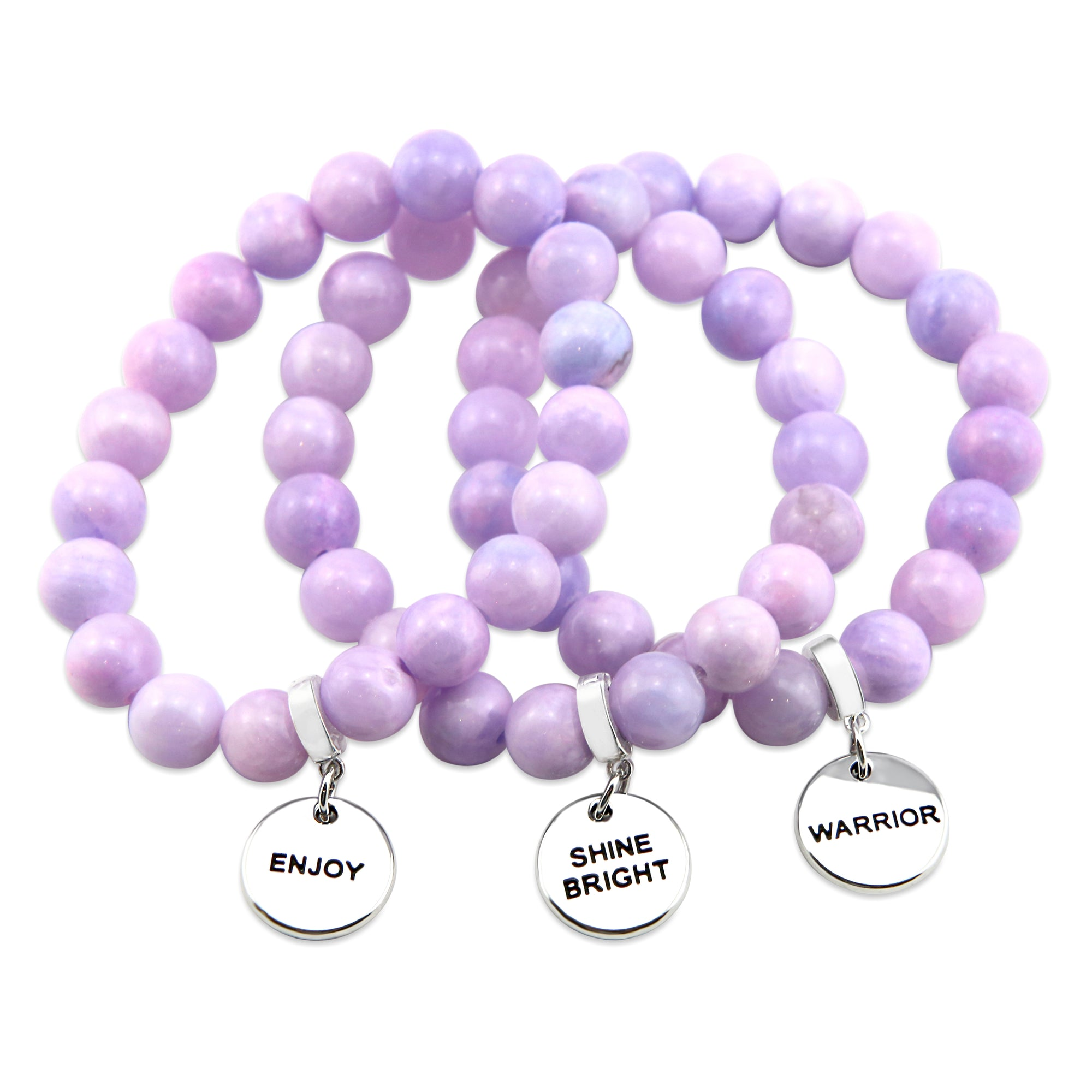 Stone Bracelet - Bashful Lilac Pastel Agate 10mm Beads - with Silver Word Charm