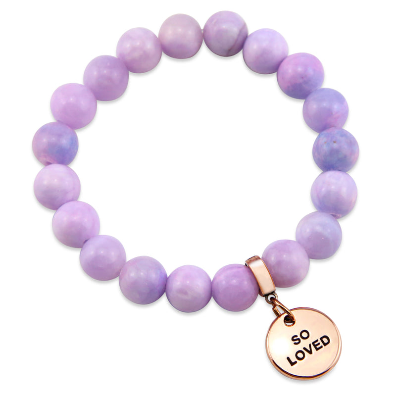 Stone Bracelet - Bashful Lilac Pastel Agate 10mm Beads - with Rose Gold Word Charm