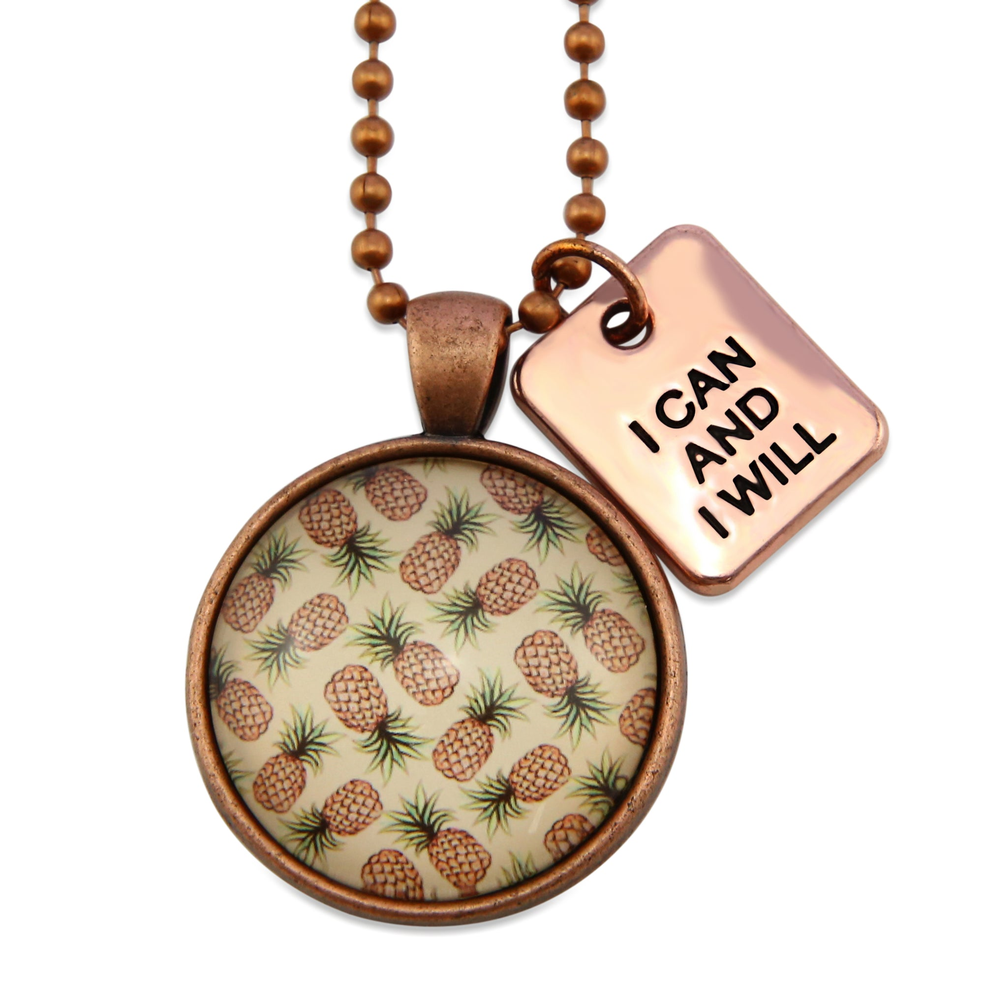 Summer Collection - Vintage Copper 'I CAN AND I WILL' Necklace - Pineapple Splice (13044)
