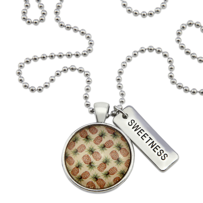 Summer Collection - Vintage Silver 'SWEETNESS' Necklace - Pineapple Splice (12631)