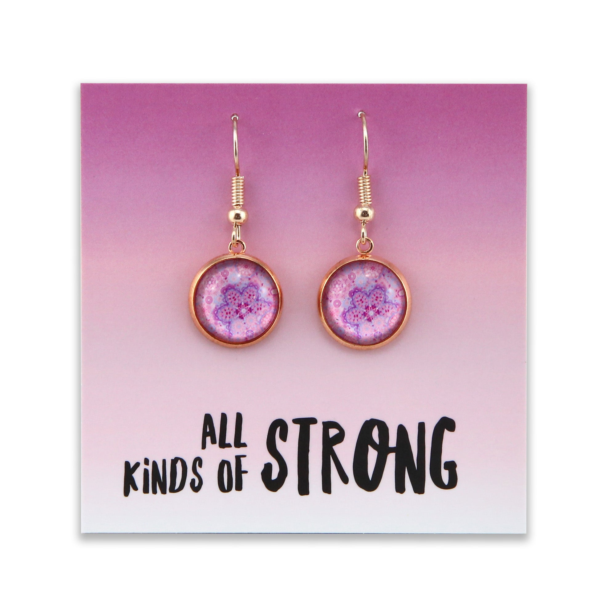 Pink Collection - All Kinds of Strong - Stainless Steel Rose Gold Dangle Earrings - Pink Ice (2203)