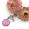 PINK COLLECTION - Vintage Silver 'FIERCE FEARLESS FABULOUS'  Keyring -  Pink Ice (12254)