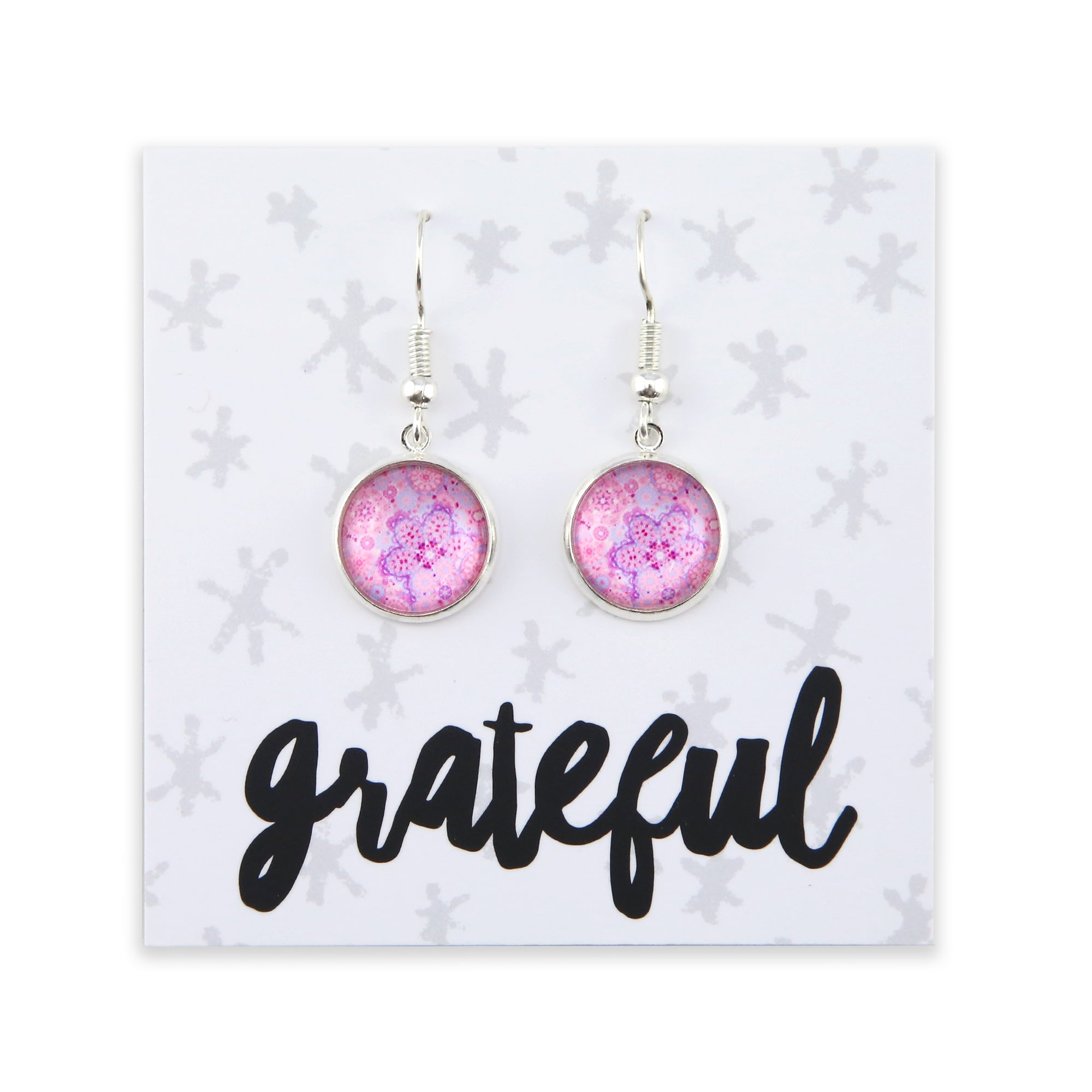 Pink Collection - Grateful - Stainless Steel Bright Silver Dangle Earrings - Pink Ice (2207)